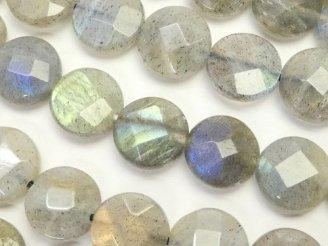 天然石卸 ラブラドライトAA+ コインカット10×10×4 半連/1連(約37cm)