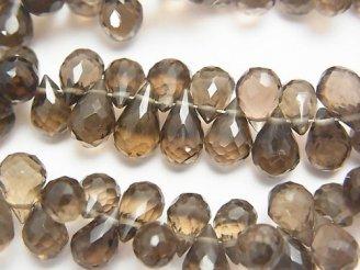 天然石卸 宝石質スモーキークォーツAAA ドロップ ブリオレットカット 【ミディアムカラー】 半連/1連(約18cm)