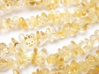 天然石卸 1連480円!ライトカラーシトリンAAA- チップ(ミニタンブル) 1連(約84cm)