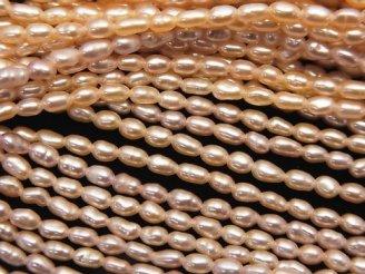天然石卸 1連680円!極小淡水真珠ケシパールAA+ ライス3×2×2 クラシックオレンジ 1連(約37cm)