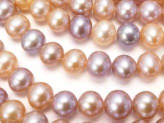 天然石卸 淡水真珠AAA セミラウンド4〜6mm 天然色ミックス サイズグラデーション 1連(約38cm)