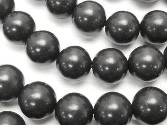 天然石卸 北海道産ブラックシリカ ラウンド10mm 半連/1連(約37cm)