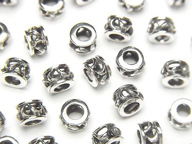 Silver925 デザイン入りロンデル5×5×3.5mm 1個