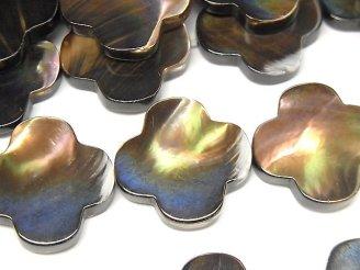 天然石卸 マザーオブパール ブラウン フラワーモチーフ20×20×5 半連/1連(約38cm)