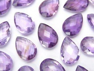 天然石卸 宝石質アメジストAAA 穴なしペアシェイプカット12×8×4 4粒680円!