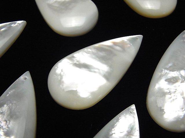 高品質ホワイトシェル(白蝶貝) 縦長ペアシェイプ40×20×5mm 1個