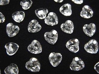 天然石卸 素晴らしい輝き!宝石質クリスタルAAA ハートシェイプカット 6×6×4 10粒〜1連(ブレス)