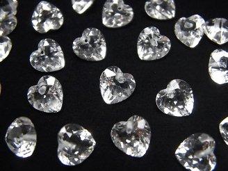 天然石卸 素晴らしい輝き!宝石質クリスタルAAA ハートシェイプカット 8×8×5 10粒〜1連(ブレス)