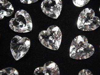 天然石卸 素晴らしい輝き!宝石質クリスタルAAA ハートシェイプカット 12×12×7mm 10粒〜1連(ブレス)