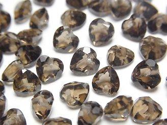 天然石卸 宝石質スモーキークォーツAAA ハートシェイプカット 6×6×3 10粒〜1連(ブレス)