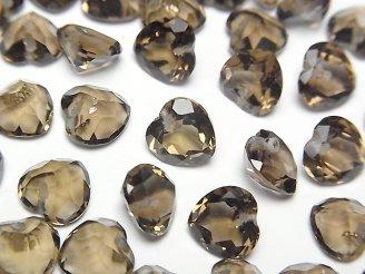 天然石卸 宝石質スモーキークォーツAAA ハートシェイプカット 8×8×5mm 10粒〜1連(ブレス)