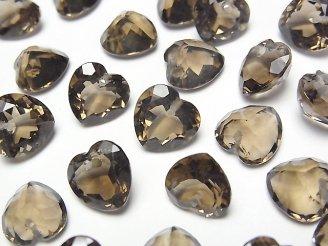天然石卸 宝石質スモーキークォーツAAA ハートシェイプカット 10×10×6mm 10粒〜1連(ブレス)