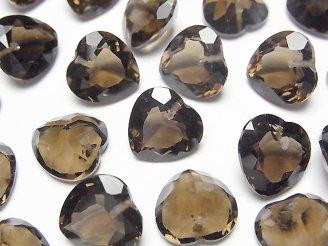 天然石卸 宝石質スモーキークォーツAAA ハートシェイプカット 12×12×7mm 10粒〜1連(ブレス)