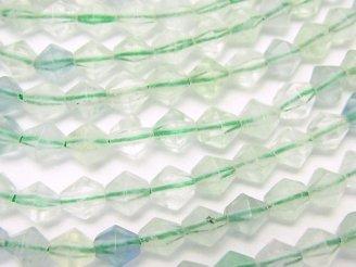 天然石卸 1連780円!グリーンフローライトAA++ 16面カット6×6×6 1連(約38cm)