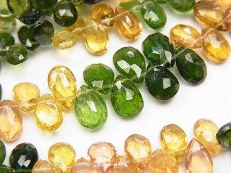 天然石卸 宝石質グリーン&イエロートルマリンAAA ペアシェイプ ブリオレットカット 1/4連〜1連(約18cm)