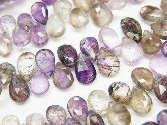 天然石卸 宝石質エレスチャルクォーツAAA〜AAA- ペアシェイプ ブリオレット 半連/1連(約20cm)
