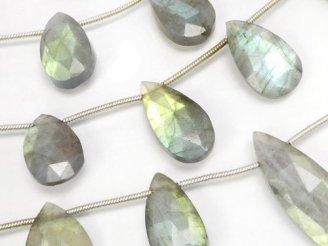 天然石卸 宝石質ラブラドライトAAA- 大粒ペアシェイプ ブリオレットカット 1連(8粒)
