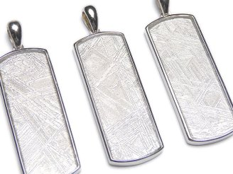 天然石卸 メテオライト(ムオニナルスタ隕石) ペンダントトップ レクタングル34×13×3mm 両面仕上げ 1個