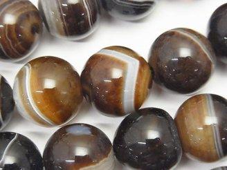 天然石卸 ブラウンストライプ アゲートAAA ラウンド16mm 半連/1連(約35cm)