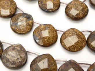 天然石卸 ブロンザイト マロン ブリオレットカット15×15×6mm 半連/1連(約36cm)
