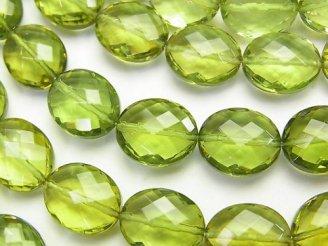天然石卸 宝石質グリーンアンバーAAA オーバルカット12×10×5 1/4連〜1連(約39cm)