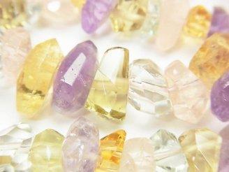 【動画】宝石質いろんな天然石AAA- 横長タンブルカット 半連/1連(約38cm)