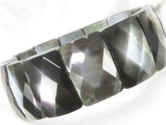 天然石卸 高品質ブラックシェルAAA 2つ穴レクタングルカット18×12×5 1連(ブレス)
