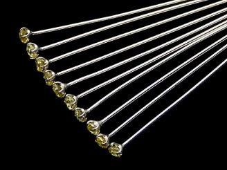 天然石卸 Silver925 飾りTピン(CZ付) イエロー 【0.5×25】【0.5×30】【0.5×40】 10本
