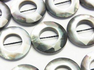 天然石卸 高品質ブラックシェル コインカット(ドーナツ)20×20×5 1/4連〜1連(約36cm)