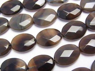 天然石卸 ブラウン〜ブラックアゲート オーバルカット16×12×5 半連/1連(約36cm)