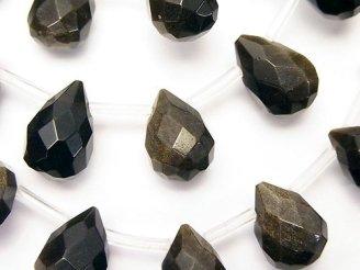 天然石卸 ゴールデンシャインオブシディアン ドロップ ブリオレットカット14×10×10mm 半連/1連