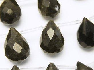 天然石卸 ゴールデンシャイン オブシディアン ドロップ ブリオレットカット18×13×13 半連/1連