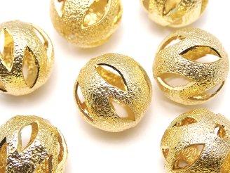 天然石卸 メタルパーツ デザインラウンドビーズ12mm ゴールドカラー 5個280円!