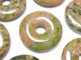 天然石卸 3枚580円!ユニカイト(ユナカイト) コイン(ドーナツ)30×30×5 3枚