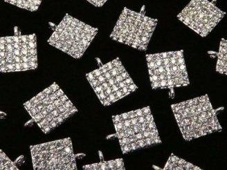 天然石卸 メタルパーツ CZ付きチャーム スクエア6×6 シルバーカラー 3個380円!