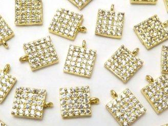 天然石卸 メタルパーツ CZ付きチャーム スクエア6×6 ゴールドカラー 3個380円!