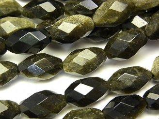 天然石卸 ゴールデンシャイン オブシディアンAAA ライスカット12×7×7 半連/1連(約38cm)