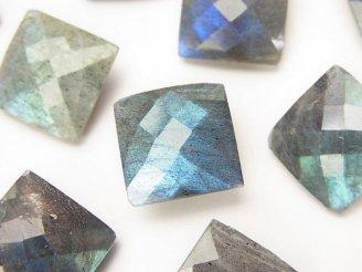 天然石卸 ラブラドライトAAA-〜AA++ 穴なしスクエアカット14×14×7 3粒1,680円!
