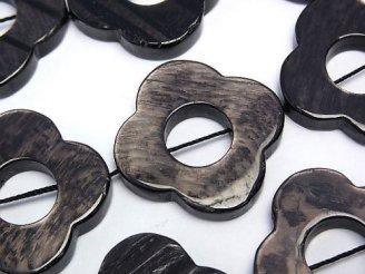 天然石卸 ハイパーシーン フラワー形状(ドーナツ) 27×27×5 半連/1連(約36cm)