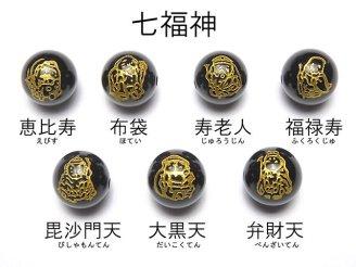天然石卸 金色!七福神の彫刻入り!オニキスAAA ラウンド10mm・12mm 7粒520円〜!