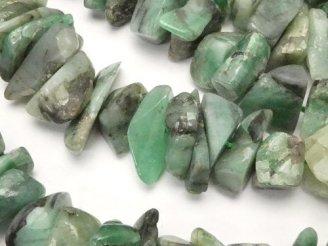天然石卸 1連980円!ブラジル産エメラルドAA チップ(ミニタンブル) 1連(約38cm)