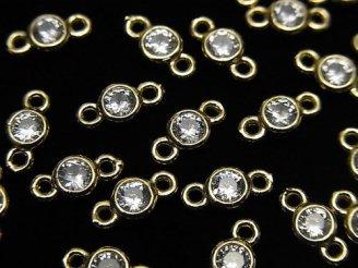 天然石卸 メタルパーツ CZブリリアントカット付きチャーム 両カン7×4×2 ゴールドカラー 5個300円