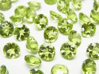 天然石卸 宝石質ペリドットAAA+ 穴なしブリリアントカット6×6×3 3粒780円!