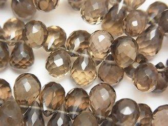 天然石卸 宝石質スモーキークォーツAAA ドロップ ブリオレットカット 1/4連〜1連(約18cm)
