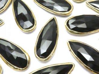 天然石卸 オニキスAAA ゴールドカラー枠付きペアシェイプブリオレットカット 1粒1,380円!