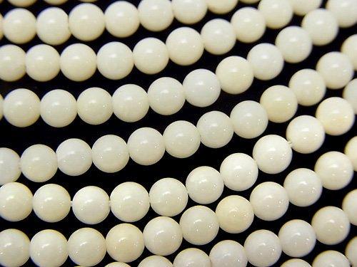 ホワイトコーラル(白珊瑚) ラウンド4.5mm 1連(約38cm)