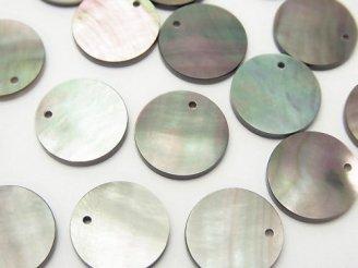 天然石卸 高品質ブラックシェル(黒蝶貝)AAA コイン形状 【8mm】【10mm】【12mm】 5枚380円〜!