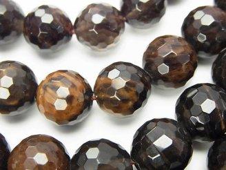 天然石卸 ブラウン×ブラックカラー オブシディアンAAA 128面ラウンドカット12mm 半連/1連(約38cm)