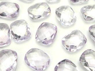 天然石卸 宝石質ライトカラーアメジストAAA 穴なしレクタングルカット11×9 5粒1,280円!