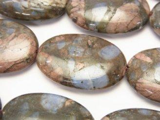 天然石卸 コングロメレイト(ケセラストーン) オーバル30×20×8 半連/1連(約32cm)